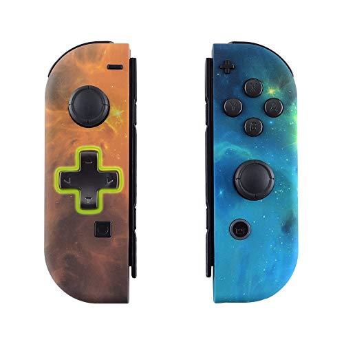 eXtremeRate Hülle für Nintendo Switch Joycon,Case Gehäuse Hülle Schale Ersatzteile für Nintendo Switch Joycon Controller&kompletter Satz Taste(D-Pad-Version)-orange Universum-Keine Console Hülle