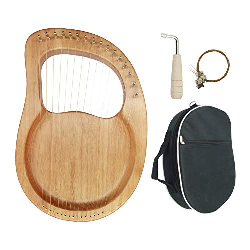 Lyre Harp, 16 Metal String Mahogany Plywood Body String Instrument with Tuning Wrench and Carry Bag (wood)