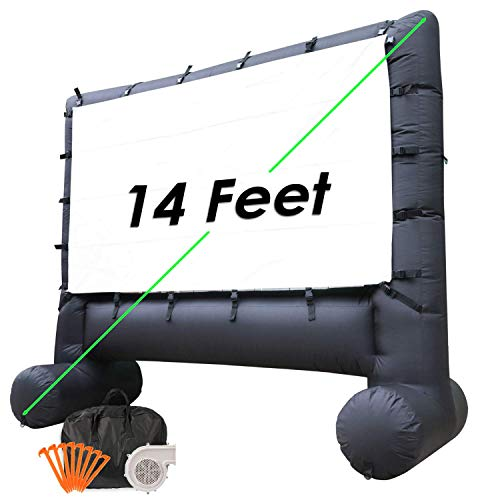 Houseables Outdoor Movie Screen, Inflatable TV, 14', Black, Large, Polyester, Home Theatre, Portable, Motorized, Carrying Case, for Projectors,...