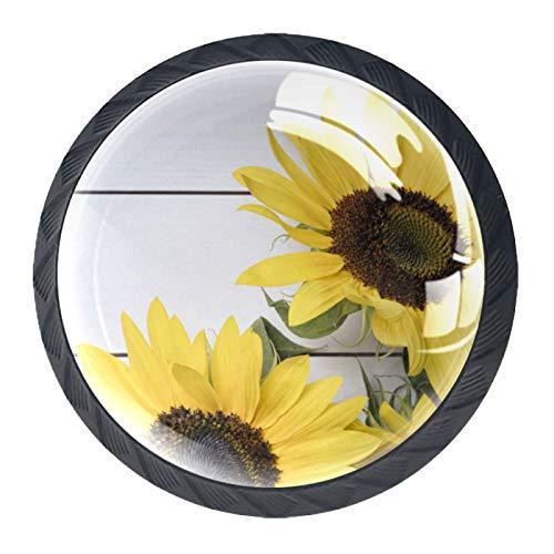 Paquete de 4 perillas de puerta de gabinete manijas de cajón redondas con tornillo de acero inoxidable para cocina baño dormitorio guardería Girasoles Frescos Madera 3.5×2.8CM