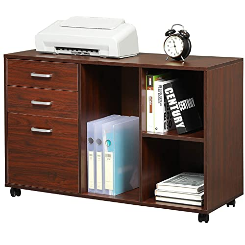 Itaar 39 inches Wood File Cabinets 3 Drawer, Printer Stand with Open Storage Shelves for Home Office, Mobile Lateral Filing Cabinet on Wheels, Living Room, Cherry-red