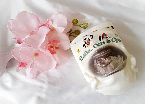 Lolleby´s Kindertraumland Windel Bestickt - 3D Ultraschall Bild - Überraschung - Geburtsgeschenk (1 Stück - Ultraschallbild, Oma, Opa, Uroma, Uropa, Tante, Onkel, Papa)