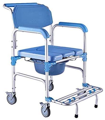 GUOZ Aluminium Duschstuhl/tragbarer KopfendeCommode/Rollen und gepolsterter Sitz, für ältere Menschen, Schwangere Frauen, Menschen mit Behinderungen,Blau U-Kissen