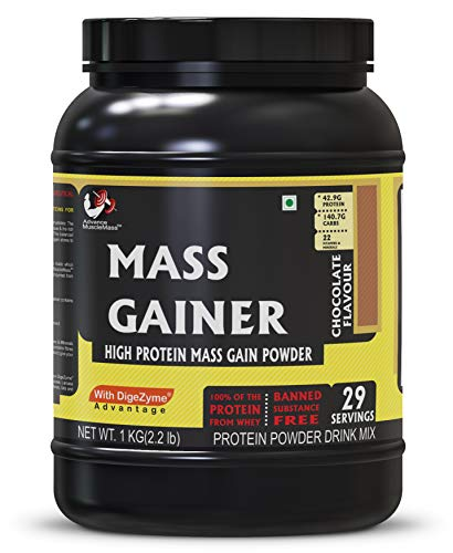 Advance MuscleMass Mass Gainer with Enzyme Blend | 7.15 G Protein | 23.46 G Carbs | Lab tested | Made from Whey Protein only | Raw Whey from USA | Chocolate Flavour | 1 Kg / 2.2 lb
