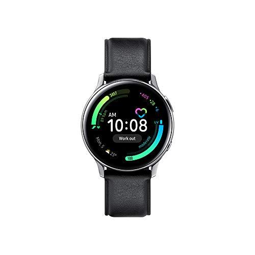SAMSUNG Galaxy Watch Active2 Smartwatch Bluetooth 40 mm in Acciaio Inossidabile e Cinturino in Pelle, con GPS, Sensore di Frequenza Cardiaca, Tracker Allenamento, IP68, Silver, Versione Italiana