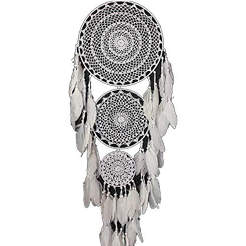 bgfh Atrapasueños Boho Extragrande 3 círculos, Pluma Blanca, macramé, Colgante para Bodas, decoración del hogar, 127 cm de Largo
