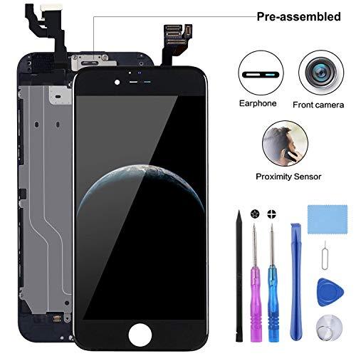 YPLANG Für iPhone 6 Display Schwarz ersatzbildschirm LCD Touchscreen Display vorinstallierte frontkamera näherungssensor Passendes Profi-Werkzeugset enthalten