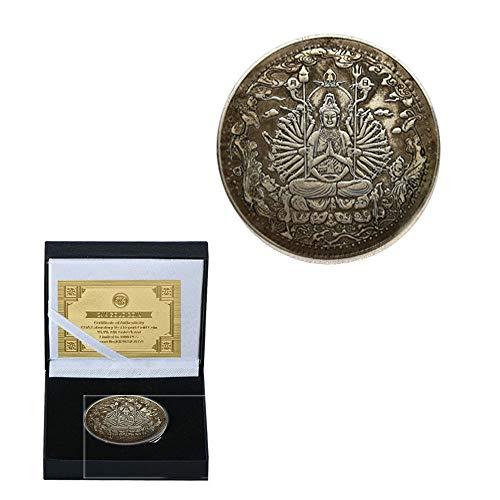 Prajna Paradita. Antike Alte Kupfer Silbermünzen Erleichterung Von Killer Guan Xiangyin Dagi Sad Buddha Münze Halten Rost/Silber/Runden