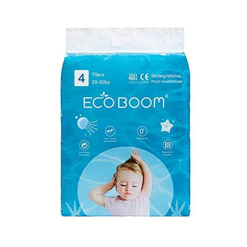 Eco Boom - Pannolini a base vegetale, 1 mese, taglia 4, usa e getta, biodegradabili, 70 pezzi, pannolini ecologici e biologici naturali, per neonati