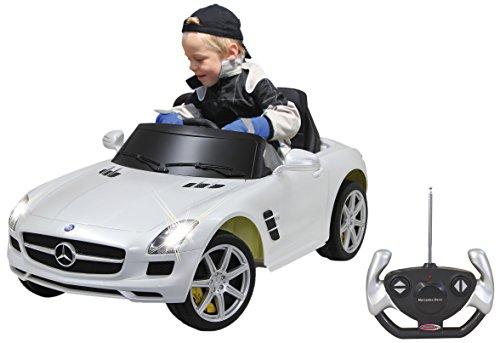 Jamara 404610 - Ride-on Mercedes SLS AMG weiß 40MHz 6V – Kinderauto, leistungsstarker Motor und Akku, bis zu 90 Min Fahrzeit,Ultra-Gripp Gummiring am Antriebsrad,Anschluss von Audioquellen,Sound,Licht*