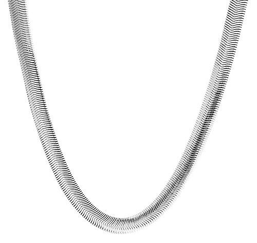 Bling Jewelry Ampia Lisca di Pesce Piatto Flessibile Snake Chain Link Strong 3MM per Donne per Uomini Collana Acciaio Inossidabile
