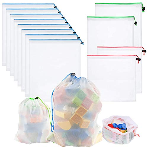 Whispex Toy Storage & Organization Mesh Bags Set of 12(8 Large 2 Medium 2 Small),Baby Toys, Game Pieces, Toy Sets, Bathtub Toys.