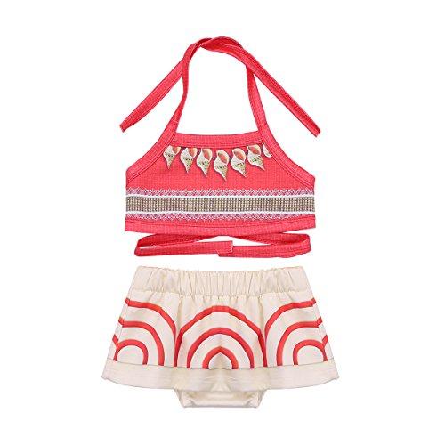 MSemis Traje de Baño Dos Piezas para Bebés Bikinis Vaianas Disfraz Moanas Niñas Bañadores Disfraces Aventura del Mar Regalo Cumpleaños Ropa de Playa