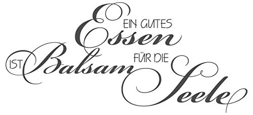 dekodino® Wandtattoo Spruch Küche Gutes Essen ist Balsam für die Seele Wanddeko