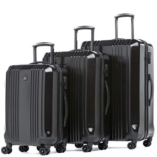 FERGÉ 3er Kofferset Hartschale Cannes Trolley Koffer Reisekoffer 3tlg. Set 4 mit Rollen schwarz