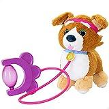 ColorBaby- Puppy Peluche, Sprint, Correa con Bomba de Aire, Perro Sonido, Levanta Orejas y colita, Perritos de Juguete Que andan, A Partir de los 18 Meses, Incluye Pilas (46675), Multicolor