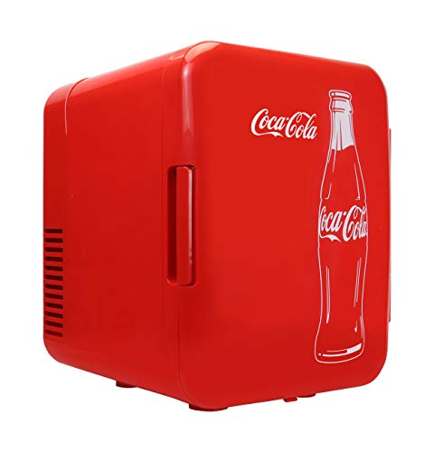 Coca Cola Mini Fridge (Classic) 4 Liter/6 Can Portable Fridge/Mini Cooler for Food, Beverages, Skincare -Use at Home, Office, Dorm, Car, Boat-AC & DC Plugs Included, Red
