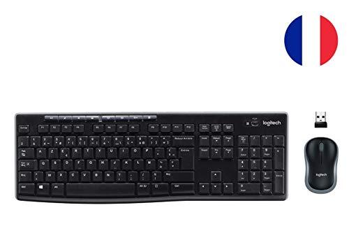 Logitech MK270 Combo Teclado y Ratón inalámbrico para Windows, Conexión 2,4 GHz, Ratón Inalámbrico Compacto, 8 Teclas de Acceso Directo, Batería 2 Años, PC/Portable, Disposición AZERTY Francés - Negro