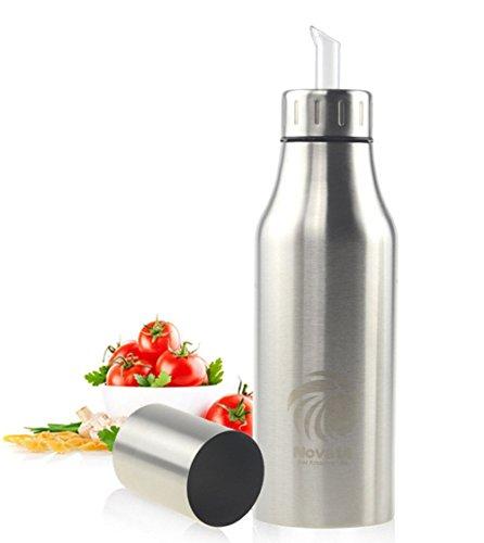 Novata Acciaio inossidabile Olio e Aceto ampolla cucina salsa liquido Condimento bottiglia distributore prova della polvere ea prova di perdite con beccuccio oliera bottiglia (750ML)