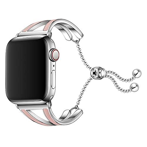 Correa Compatible para Apple Watch 38/40mm 42/44mm, Pulsera de Repuesto Inoxidable Correa para iWatch Serie6/se/5/4/3/2/1 Correa de Repuesto, para Mujer,Pink,38/40mm