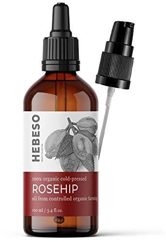 Hagebuttenöl 100% Rein & Natürlich Kaltgepresst - 100ml - Wildrosenöl mit Anti-Aging Effekt & Vitamin A,B,C,E - Gesichtsöl für unreine & trockene Haut - Rosenöl Rose-hip Bio oil skincare