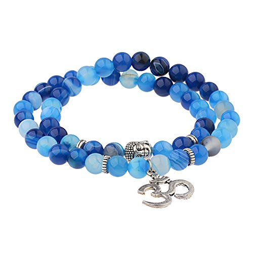 ADGJL Stone Bracelet Women,7 Chakra Natural Aquamarine Stone Bead Double Layer Wrap Bangle Boho Elastic Bracelet Buddha Om Jewelry For Women Couple