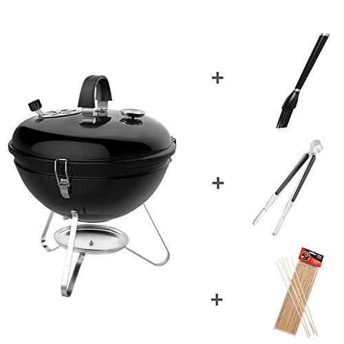 MMUY-1 Tragbare Charcoal BBQ Grill, Lackoberfläche Und Edelstahl Backform, Temperatur Farbindikator Geeignet Für Outdoor-Garten Camping