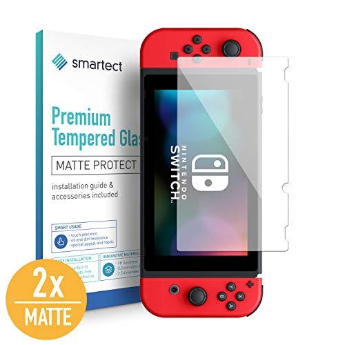 smartect Mat Beschermglas compatibel met Nintendo Switch 2019/2018 / 2017 [2x Full Screen] - screen protector met 9H hardheid - bubbelvrije beschermlaag - antivingerafdruk kogelvrije glasfolie