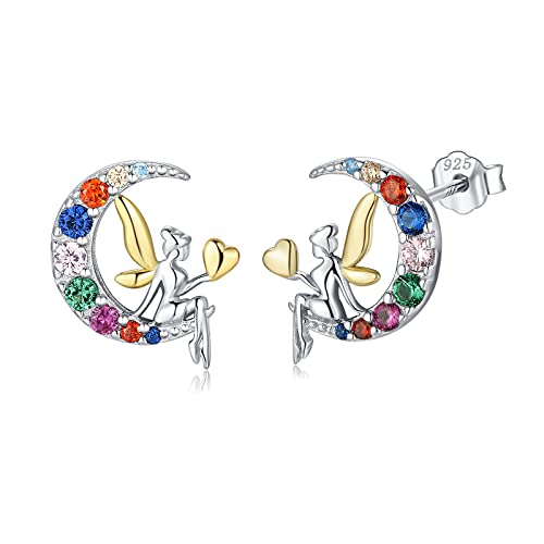 Qings Pendientes de Hada en La Luna,Pendientes Luna de Plata de Ley 925 para Mujeres Niñas, Aretes con Forma de Corazón