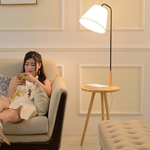 ZIXUANJIAXL Stehende Stehlampen Massivholz Stehlampe, Wohnzimmer-kreative Hauptkaffeetischleuchten, Tuch Lampshade, Fischen Vertikale Leuchte Stehleuchte