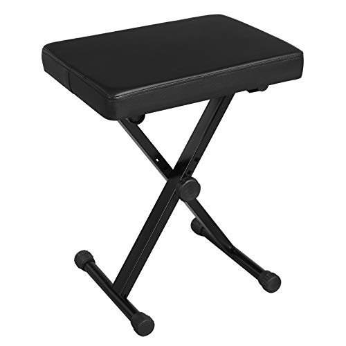 SONGMICS Adjustable Keyboard Bench, X-Style Padded Metal Piano Bench, Black