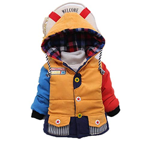 Guy Eugendssg Infant Coat Autumn Winter Baby Jackets for Baby Boys Jacket Kids Warm Outerwear Coats Yellow 24M