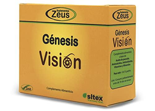 GÉNESIS VISIÓN   Contribuye al mantenimiento de la visión en condiciones normales   C. Alimenticio a base de Aceite de pescado, Aminoácidos, CoQ10, Luteína, Astaxantina, Vitaminas y Minerales   20 Cáp