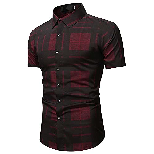 Camisa Tradicional Hombre Estampado Verano Moderno Cuello Kent Hombres Camisa Casual Botón Transpirable...