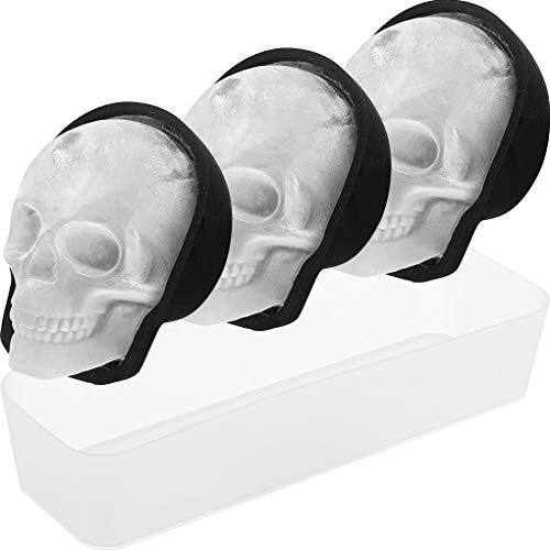 Extra Large 3D Skull Ice Cube Mold for Whiskey with Tray, Silicone Skull Ice Maker Mold with Funnel, Chocolate Sugar Skull Mold for Baking, Reusable and BPA Free (3Pack + Tray, Black)