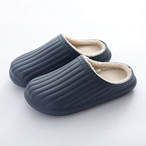 KIKIGO Zapatillas de casa Hombre Invierno,Zapatillas de casa cálidas de algodón para otoño e Invierno, Zapatos de Invierno de Suela Gruesa Antideslizantes de Felpa para Hombres.-Armada_41