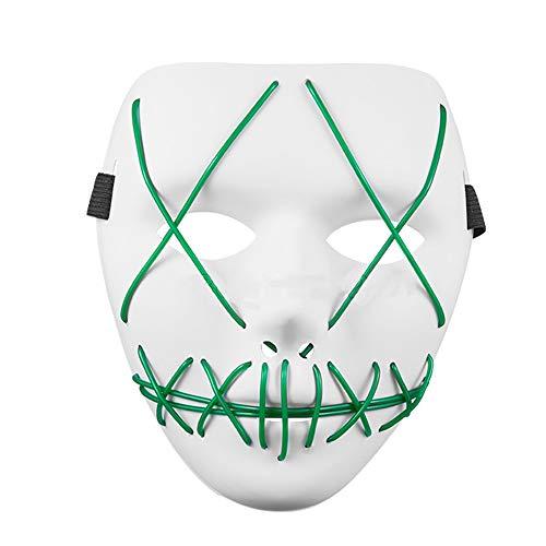 DEJUHUI Mscara de Halloween LED de miedo mscaras de Halloween luz resplandor crneo Navidad Cosplay para fiesta carnaval disfraz para hombres mujeres nios (blanco verde)