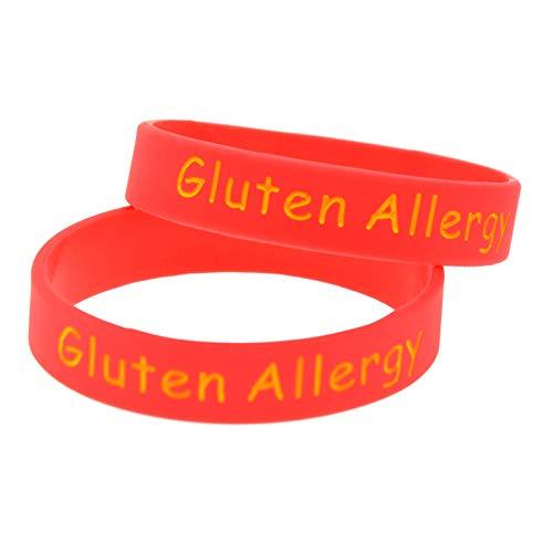 HSJ 5 Unids Alergia Al Gluten Pulsera De Advertencia Tamaño del Niño Colorear Pulsera De Silicona Perfectamente Inspirar Fitness, Baloncesto, Búsqueda De Deportes, Ejercicio Y Tareas,Rojo