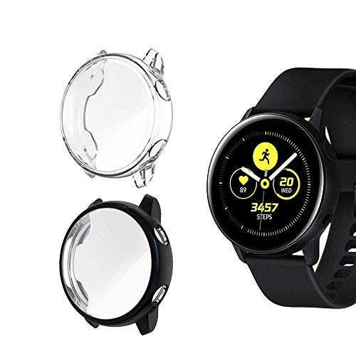 Jvchengxi Compatible for Samsung Galaxy Watch Active Pellicola Custodia, Piena Copertura Protezione Schermo TPU per Samsung Galaxy Watch Active Smartwatch (Nero/Trasparente)