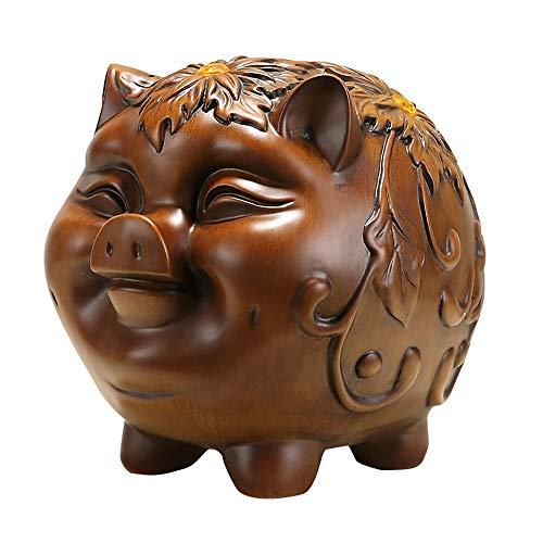 ZAKRLYB Piggy Bank Pig Ornamentos Resina Monedero Frascos Hecho a Mano, Ambiente, Duración, Ahorro de Dinero, Adecuado para escritorios, Escritorios, Mesas de Comedor, Contadores, Adornos Decorativos