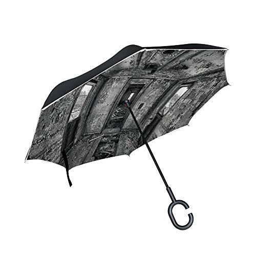 C COABALLA Reverse Folding Umbrella Windproof UV Protection Interior of an Abandoned Railway Wagon for Car Rain Outdoor with C-Shaped Handle SW43248