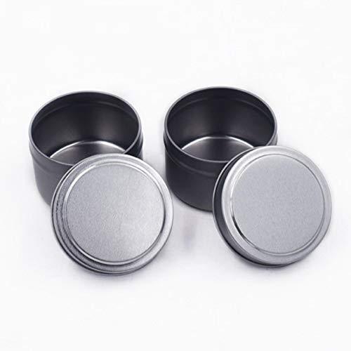 GEZICHTA Candle Tin 12pcs Empty Jar Balms Container Tinplate with Lid 4 Oz DIY Party Favor Salves Accessories Multipurpose und Storage Box(Black)