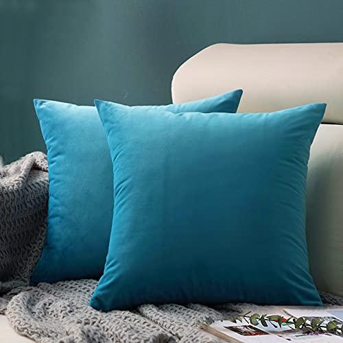FORTRY Juego de 2 fundas de cojín de terciopelo suave y sólido, 65 x 65 cm, decorativas, cuadradas, para sofá, dormitorio, sofá, color verde