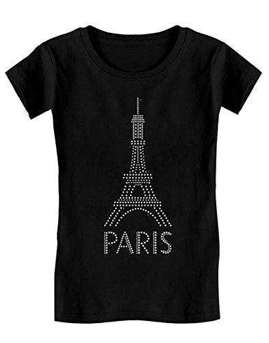 Green Turtle T-Shirts Paris Je t'aime 14 Juillet Fête Nationale Souvenir T-Shirt Fille 11/12 Ans 152cm Noir