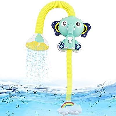 Fajiabao Shower Bath Toys for Kids Bathtub Games Infant Electric Elephant Head Sucker Baby Accessories Water Games Adjustable Sprinkler in Tub or Sink Bathroom for Preschool Boys Girls