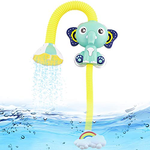 Fajiabao Shower Bath Toys for Kids Bathtub Games Infant Electric Elephant Head Sucker Baby Accessories Water Games Adjustable Sprinkler in Tub Sink Bathroom Birthday Christmas Gifts for Boys Girls