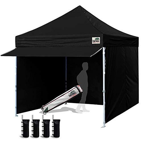 Eurmax 10 x 10 Pop Commercial Tent Outdoor Party Removable Zippered Sidewalls and Roller Bonus 4 Canopy Sand Bags & 24 Squre Ft Extended Awning, Black