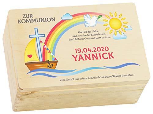 LAUBLUST Holzkiste zur Kommunion - Regenbogen Farbmotiv - Personalisiertes Kommunion-Geschenk - ca. 30x20x13 cm, Natur