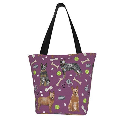 Bolsa de lona personalizable, diseño de perro de ganado australiano azul y rojo, zapatos de tacón y juguetes amatista, lavable, bolsa de la compra para mujer