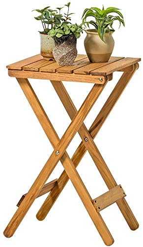 Portable folding table, Garden Side Table Acacia wood coffee table folding table Outside Terrace Patio Center